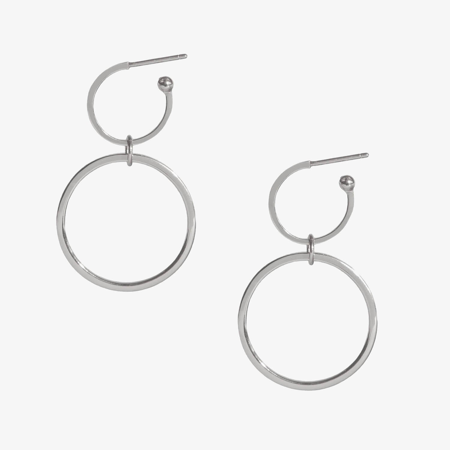 Double Ring Hoops Silver