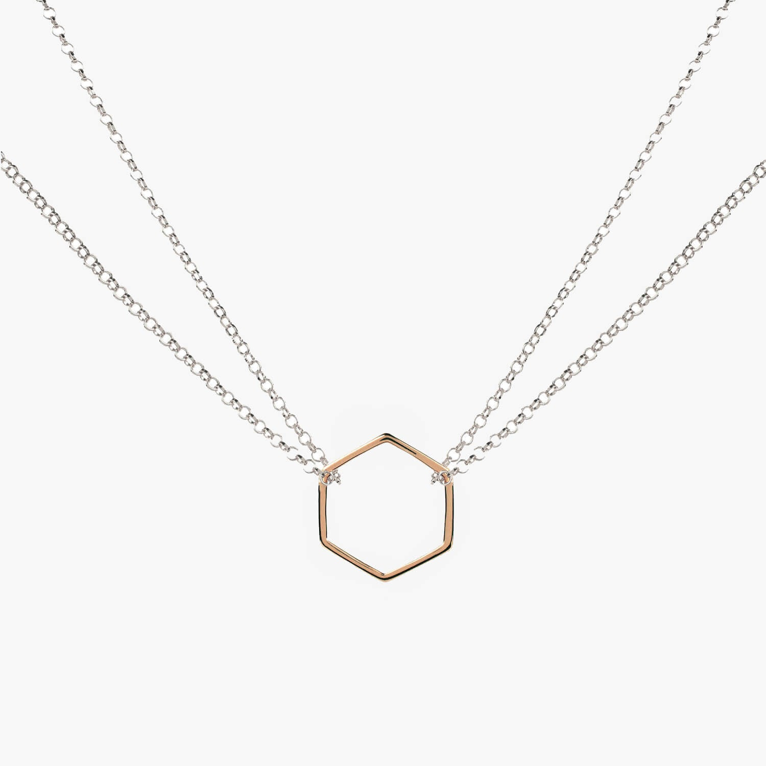 Double Chain Hexagon Necklace Silver & Rose Gold