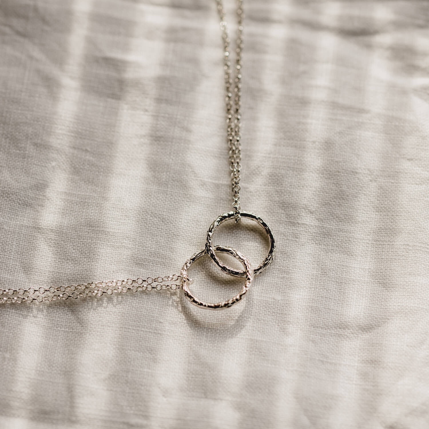 Double Meteorite Ring Necklace Silver