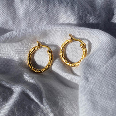 Mini Thin Meteorite Hoops Gold