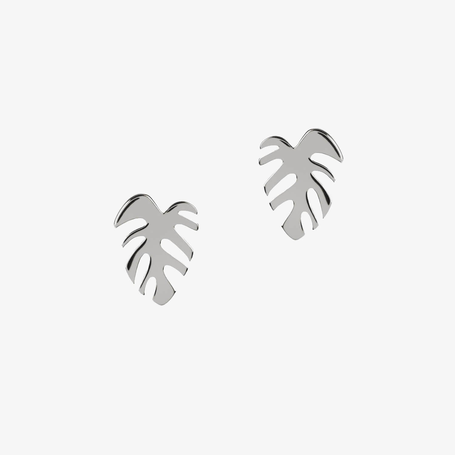 Monstera Studs Silver