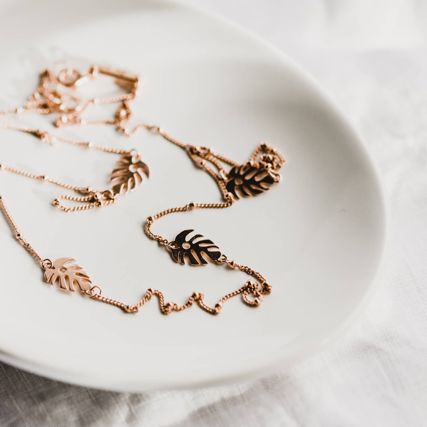 Multi Monstera Leaf Necklace Rose Gold