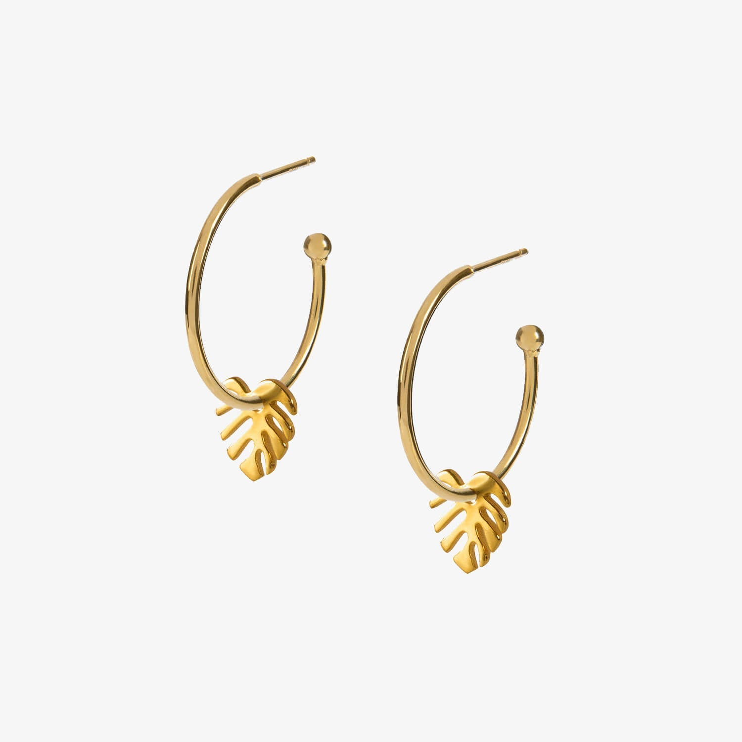 Small Monstera Hoops Gold