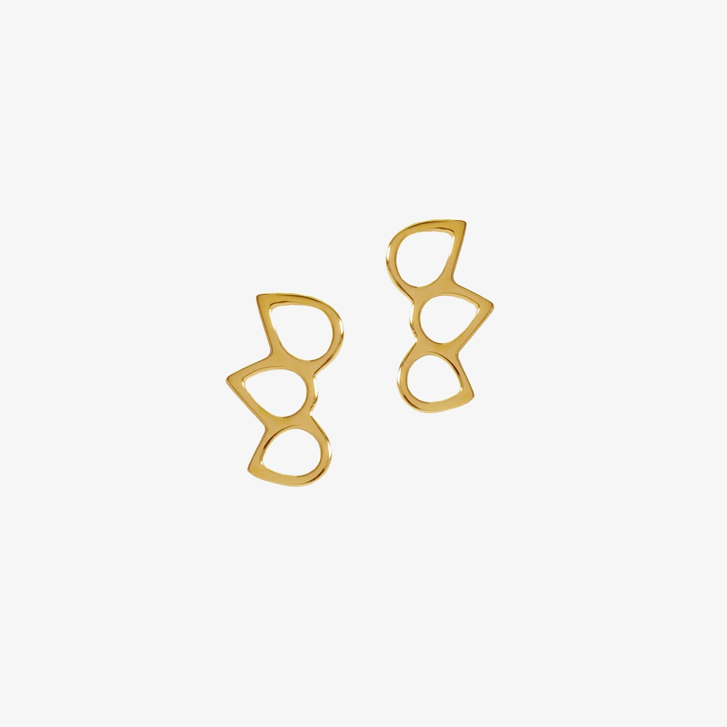 Triple Point Ring Studs Gold