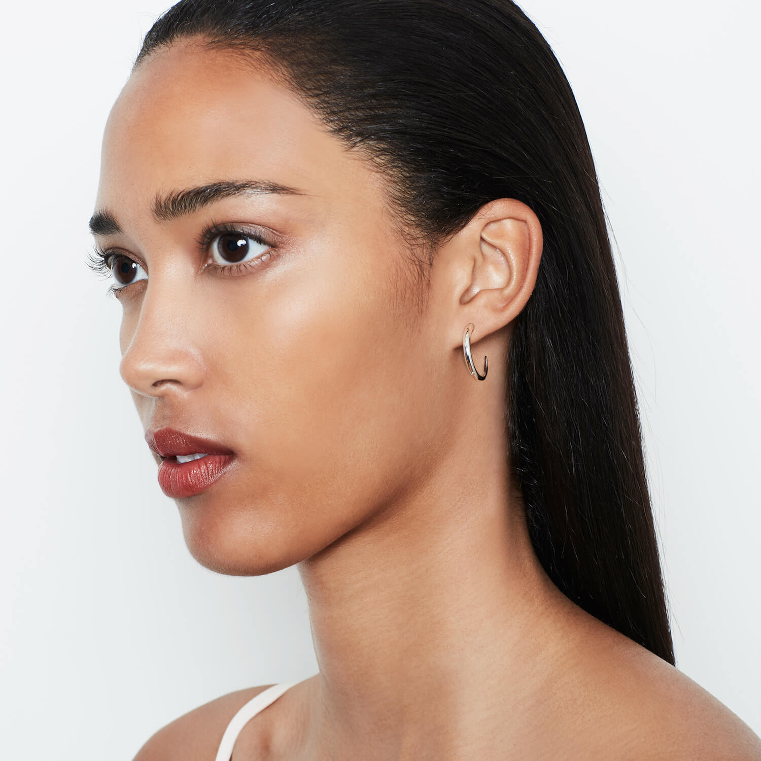 Large Tusk Hoops Silver