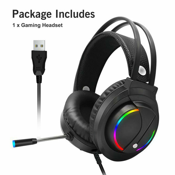 Gaming Headset RGB Surround Sound Mic 7.1 USB Headphones W/Cable For PS4 Laptop - E Store