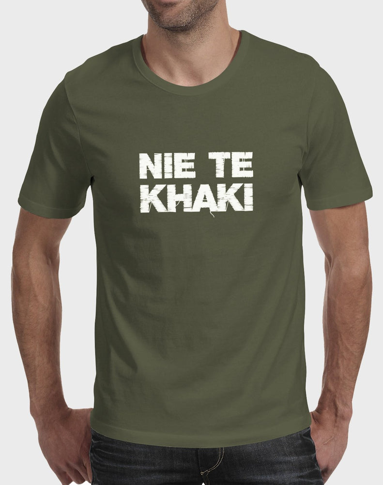 Idees Vol Vrees Nie Te Khaki Men's T-shirt - komedie