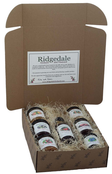 Seven Piece Jam, Jelly and Syrup Custom Box - Ridgedale Orchard & Vineyard