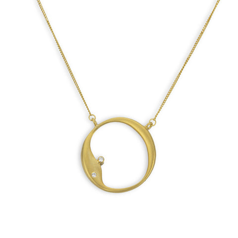 Organic Circle Necklace with Diamonds in Sterling Silver