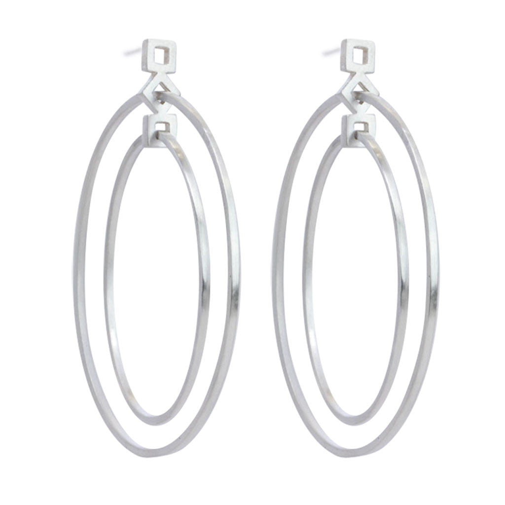 Squares GeoDeco Double Circle Earring in Sterling Silver