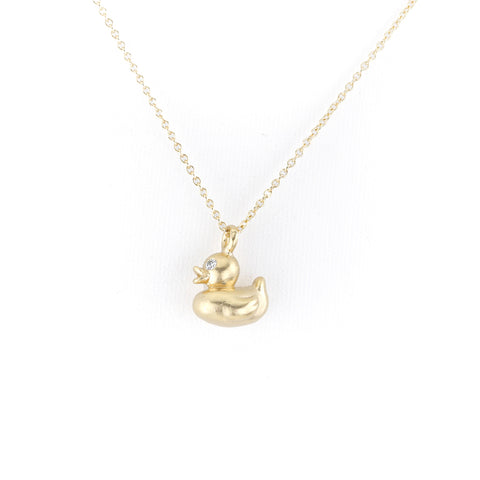 Gold Lucky Ducky with Diamond Eyes on Cable Chain