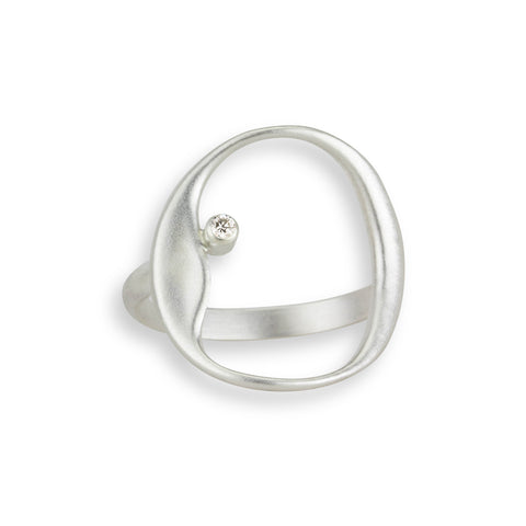 Organic Circle and Diamond Ring in Sterling Silver