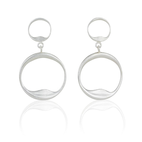 Organic Circles Double Hoops in Sterling
