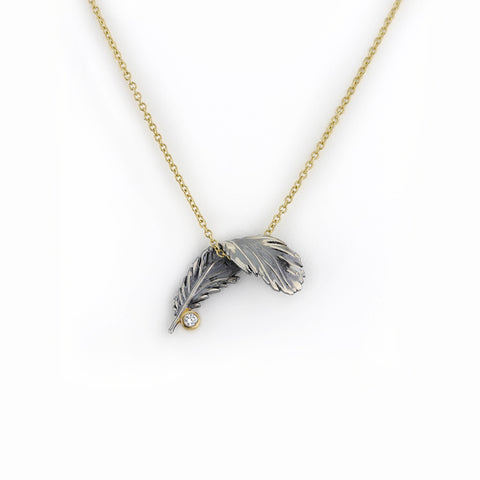 Black Feather and Diamond Necklace on Gold Chain