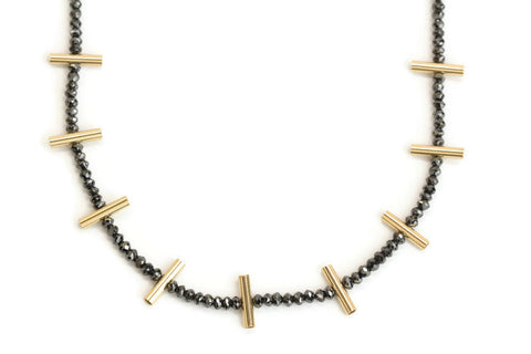 Black Diamonds and Gold Bars Necklace