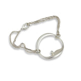 Organic Circle Bracelet with Diamond on Chain