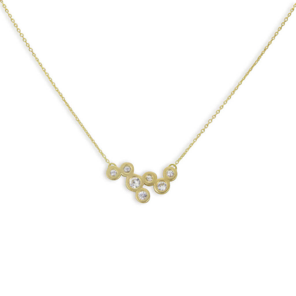 Sparkle Cloud Necklace in 18kt Gold with White Sapphires