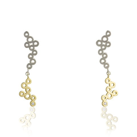 Cloudy with a Chance of Sparkle Gold and Silver Dangle Earrings
