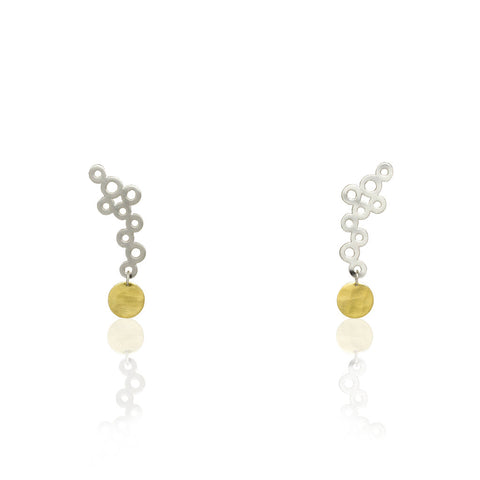 Cloudy with a Little Sun Gold and Silver Dangle Post Earrings