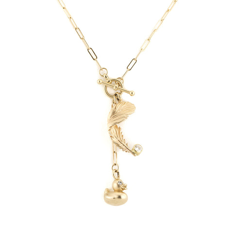 Lucky Ducky and Falling Feather Diamond Necklace with Toggle in 14kt Gold
