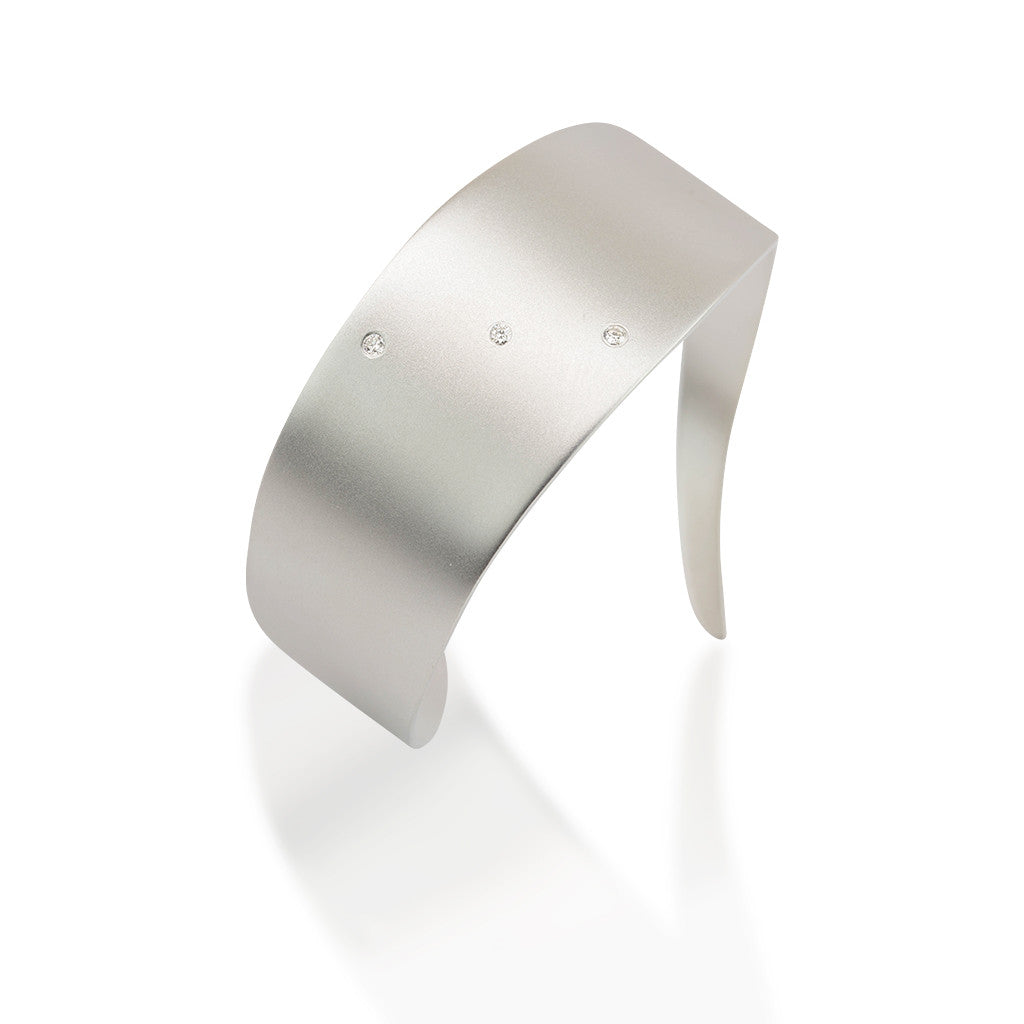 Organic Cuff with Diamonds in Sterling Silver