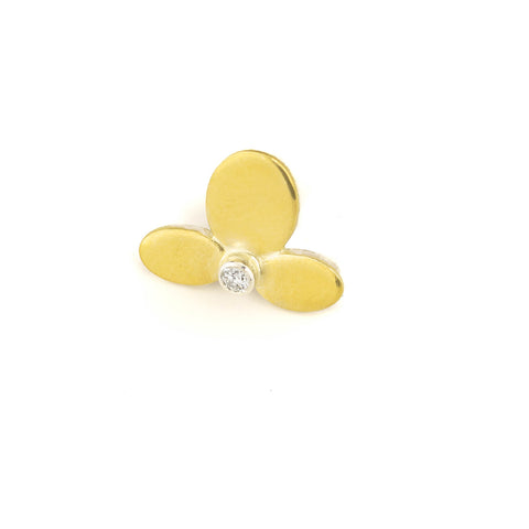 Small Flower Earring in 22kt gold, sterling and diamond