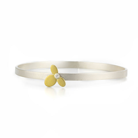 Small Flower Bangle in Sterling and 22kt gold