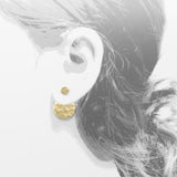 dot front-back hammered circle gold earrings