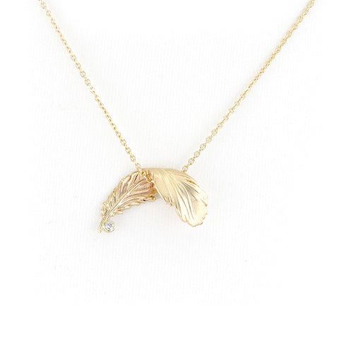 Fallling Feather in Gold Necklace