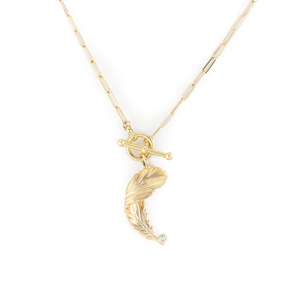 Gold Falling Feather Necklace with Paperclip Chain and Toggle Clasp