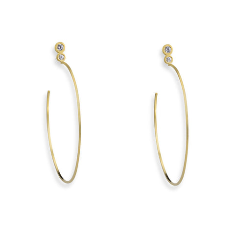 Hoop Earrings in Sterling Silver with White Sapphires
