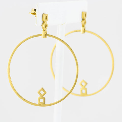 Squares GeoDeco Single Large Hoop Earrings in Gold
