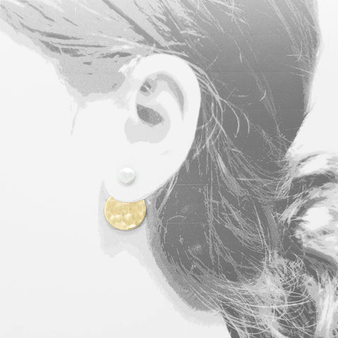 dot front-back gold with sterling silver earrings