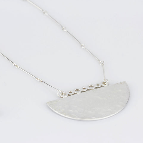 Half Moon Long Necklace in Sterling Silver