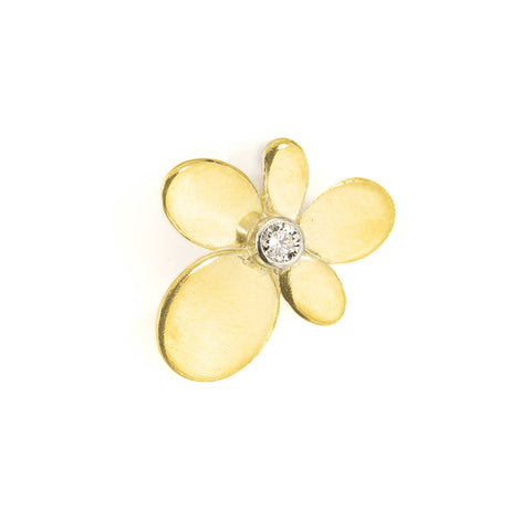 Large Flower Earring in 22kt gold, sterling and diamond