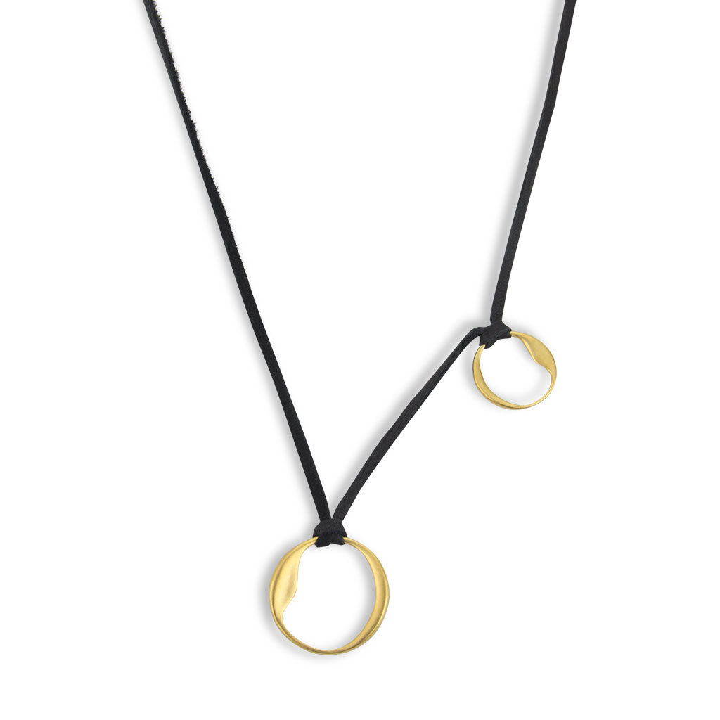 Organic Circles Necklace on Soft Leather