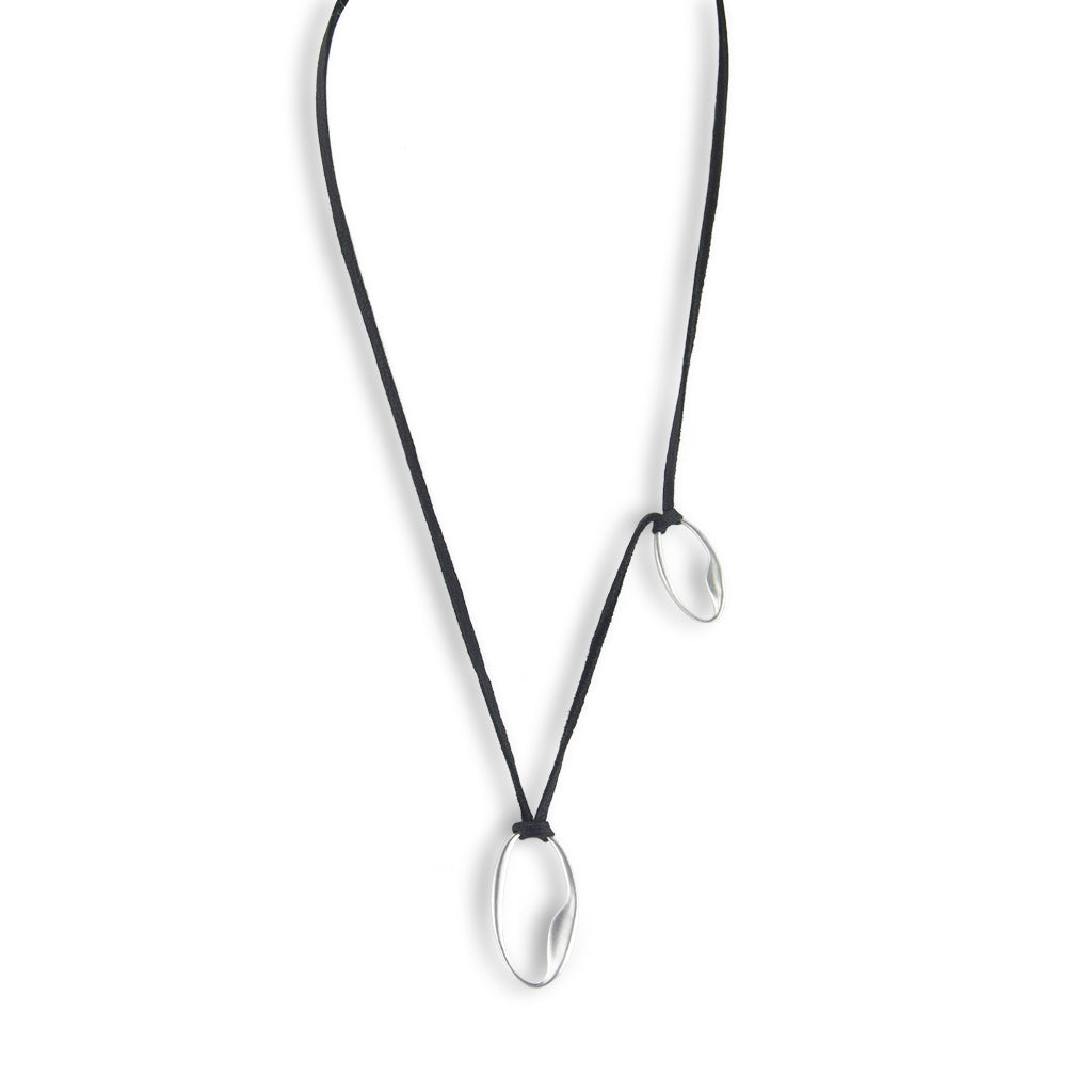Organic Ovals Necklace on Soft Leather