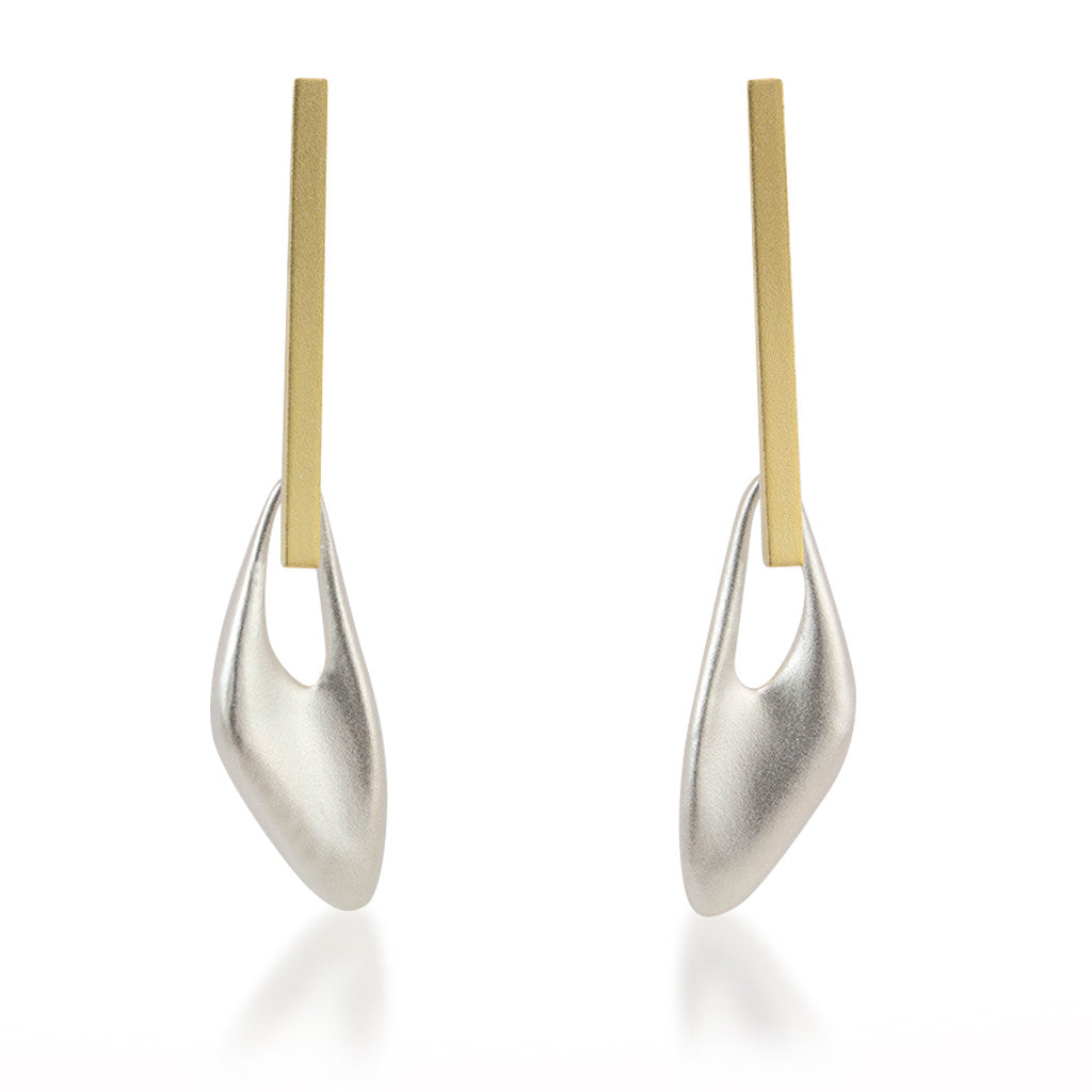 Organic Triangle with Gold Bar Earrings