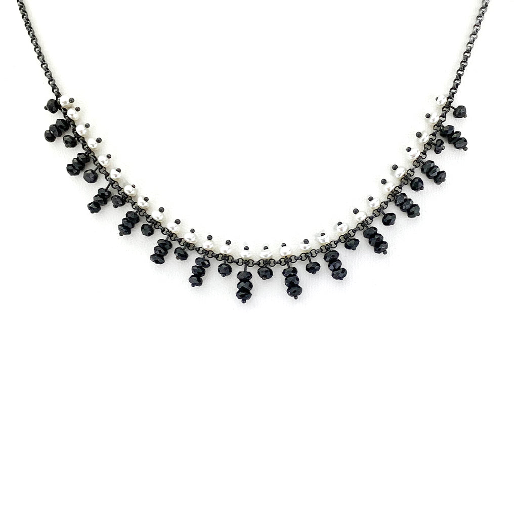 Pearl and Black Spinel Choker on Oxidized Sterling Chain