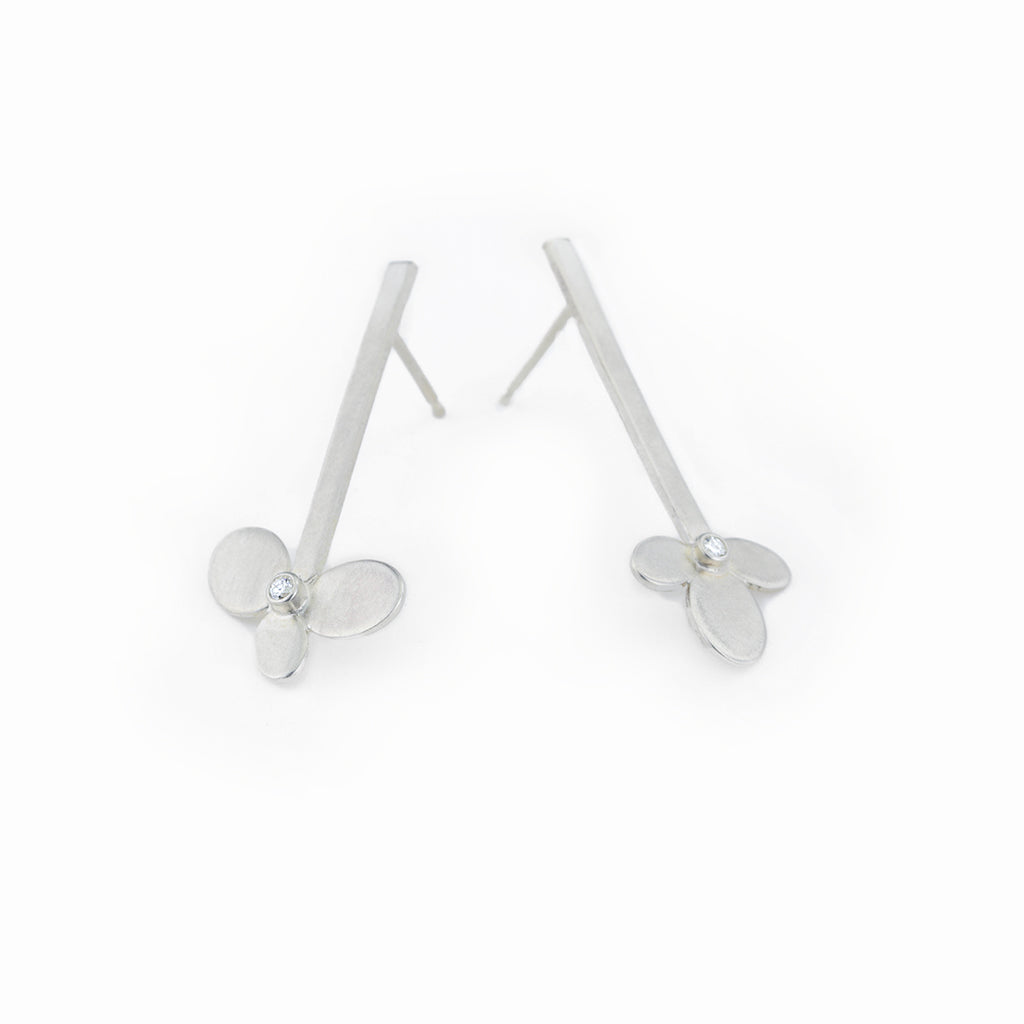 Flower on a Stick Sterling Earrings with Diamonds