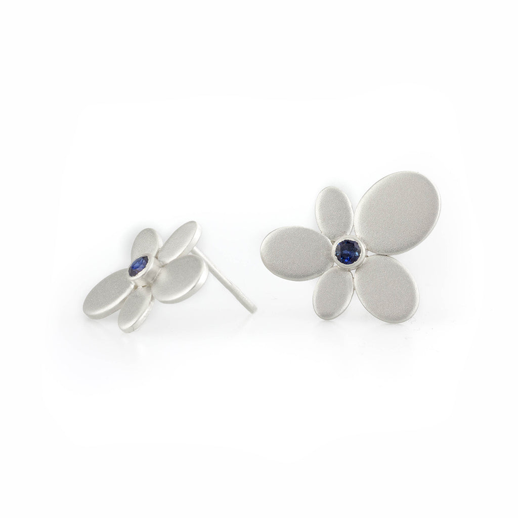 Large Flower Earring in Sterling with Sapphires