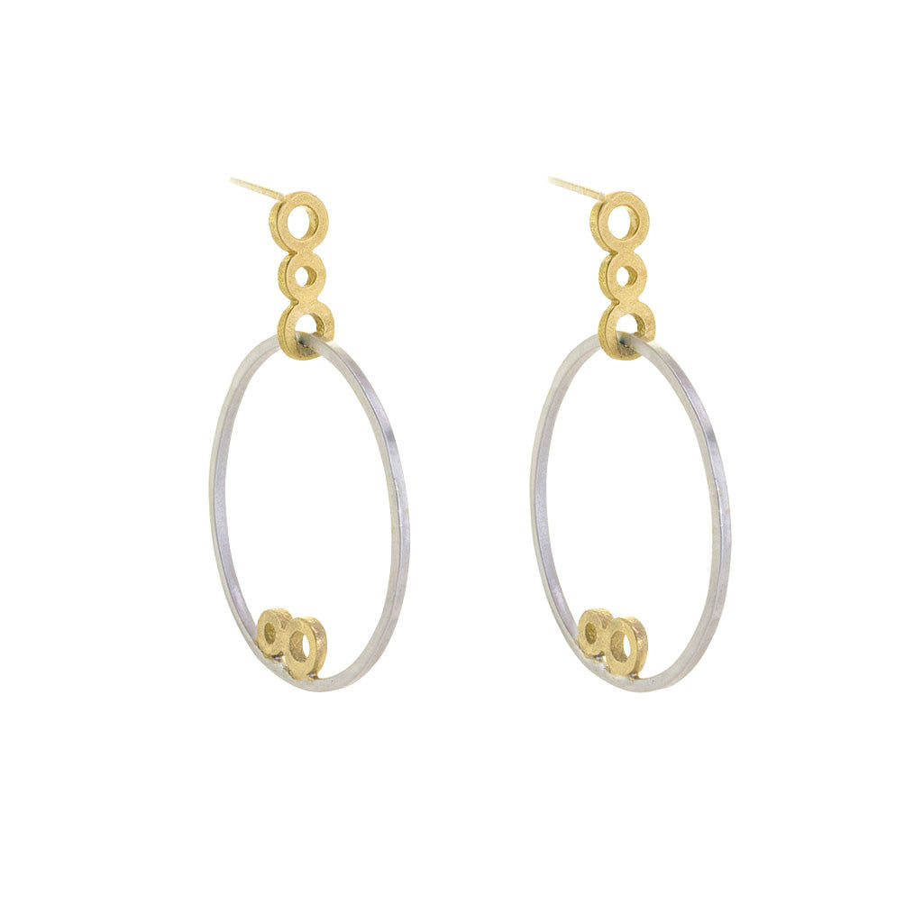 Circles GeoDeco Small Hoops in Sterling and Gold