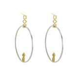 Squares GeoDeco Single Large Hoop Earrings in Sterling and Gold