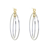 Squares GeoDeco Double Circle Earring in Sterling Silver and Gold