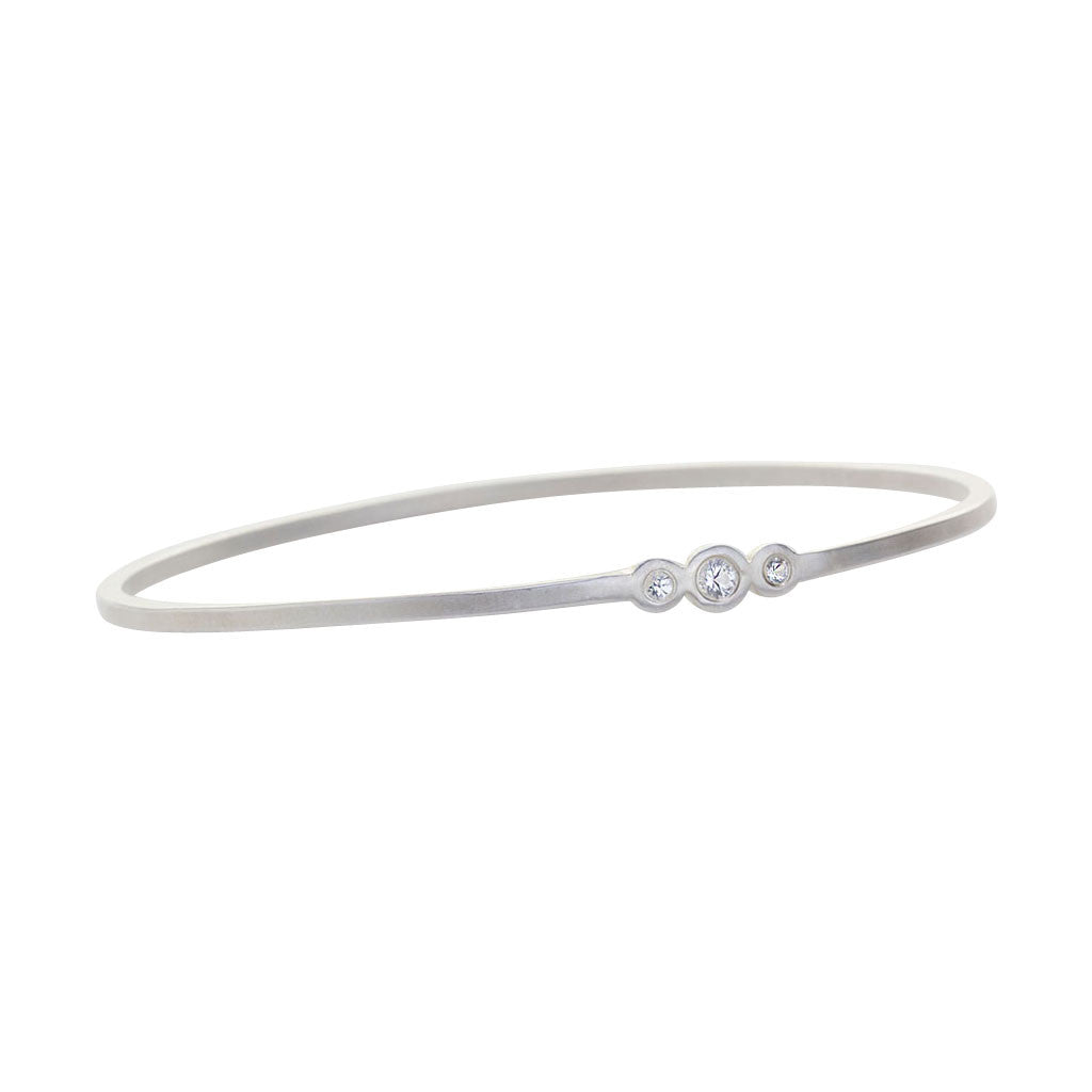 Three Stone Sterling Silver GeoDeco Bangle