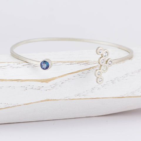 Cloudy with Sparkle Topaz and White Sapphire Open Bangle