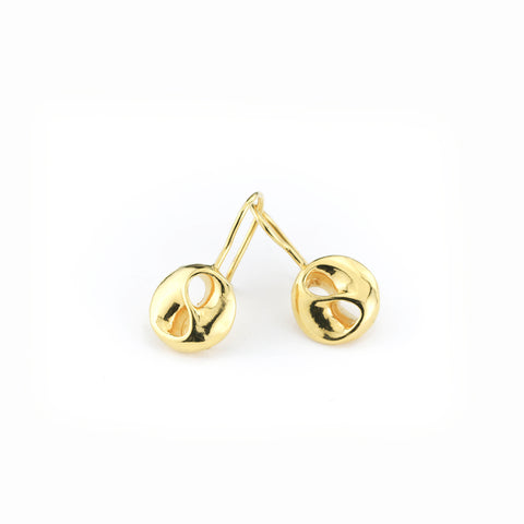 Yin Yang Gold Plated Sterling Silver Earring on a Wire