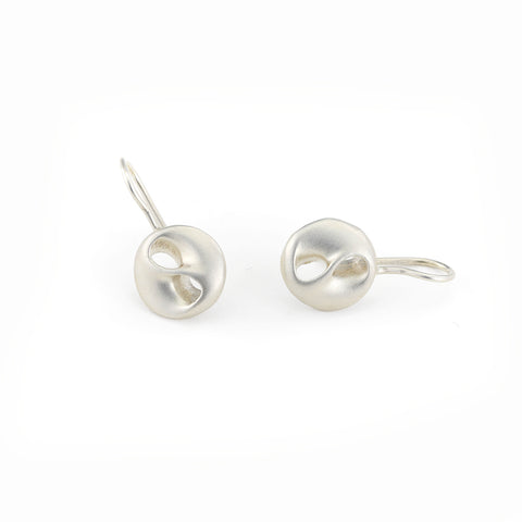 Yin Yang Earrings in Sterling Silver with Wire