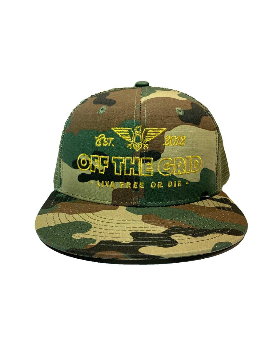 Escape-the-Grid-Snapback-Flatbill-Trucker-Hat-CAMO-OFF-THE-GRID