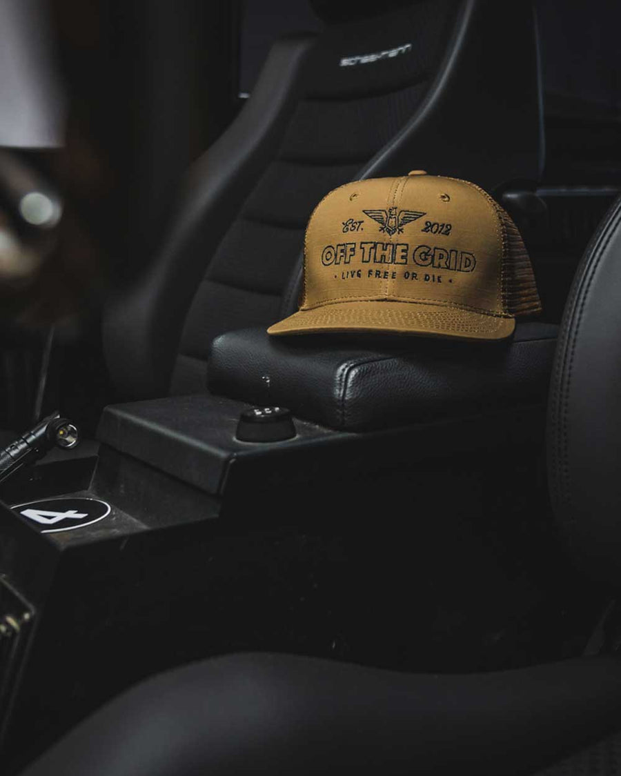 Escape-the-Grid-Snapback-Flatbill-Trucker-Hat-COYOTE-LS-OFF-THE-GRID
